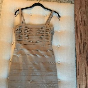 BCBG Taupe Tiered Sheath Cocktail Dress
